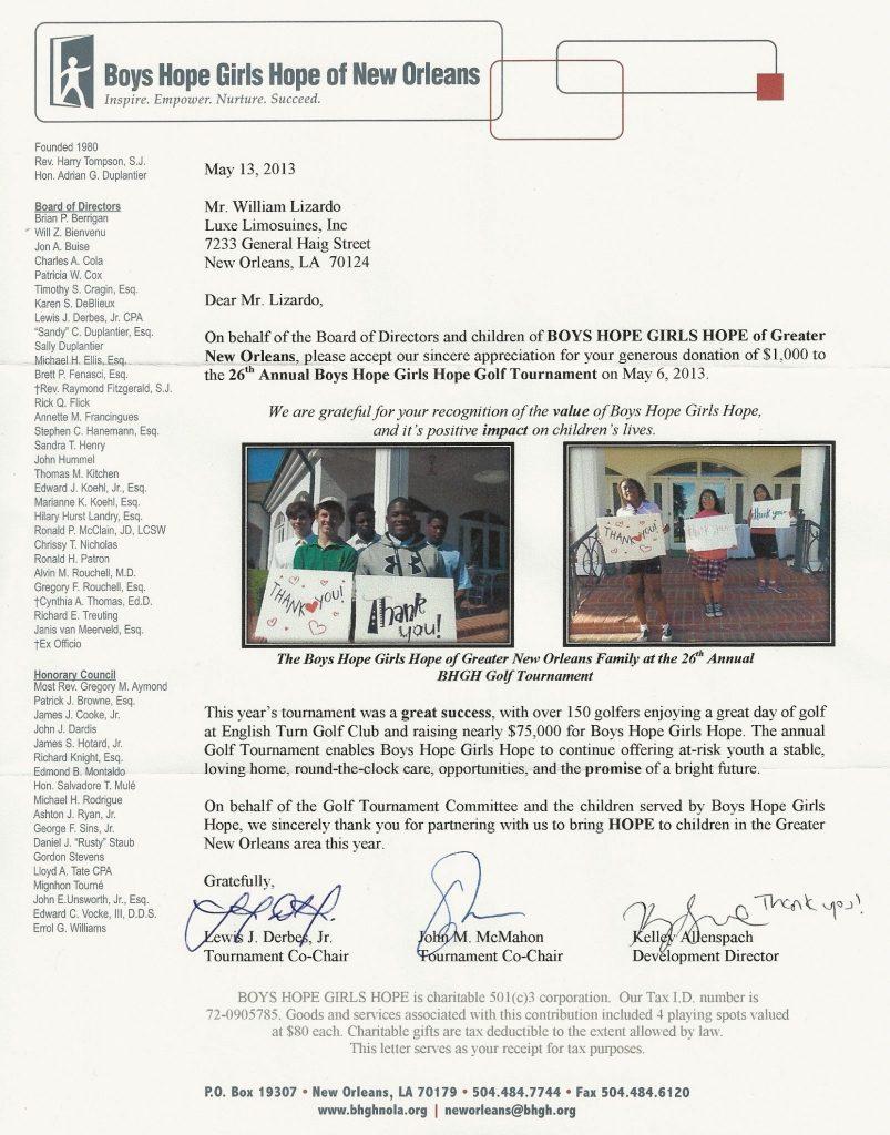 Boys Hope Girls Hope of New Orleans Letter